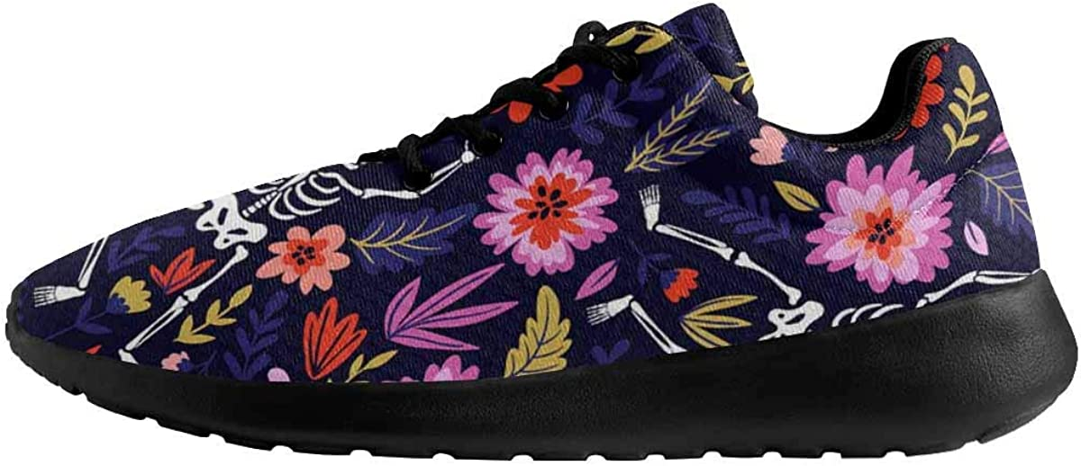 INTERESTPRINT Dancing Skeletons in The Floral Garden Womens Sport Road Running Shoes Breathable Sneakers