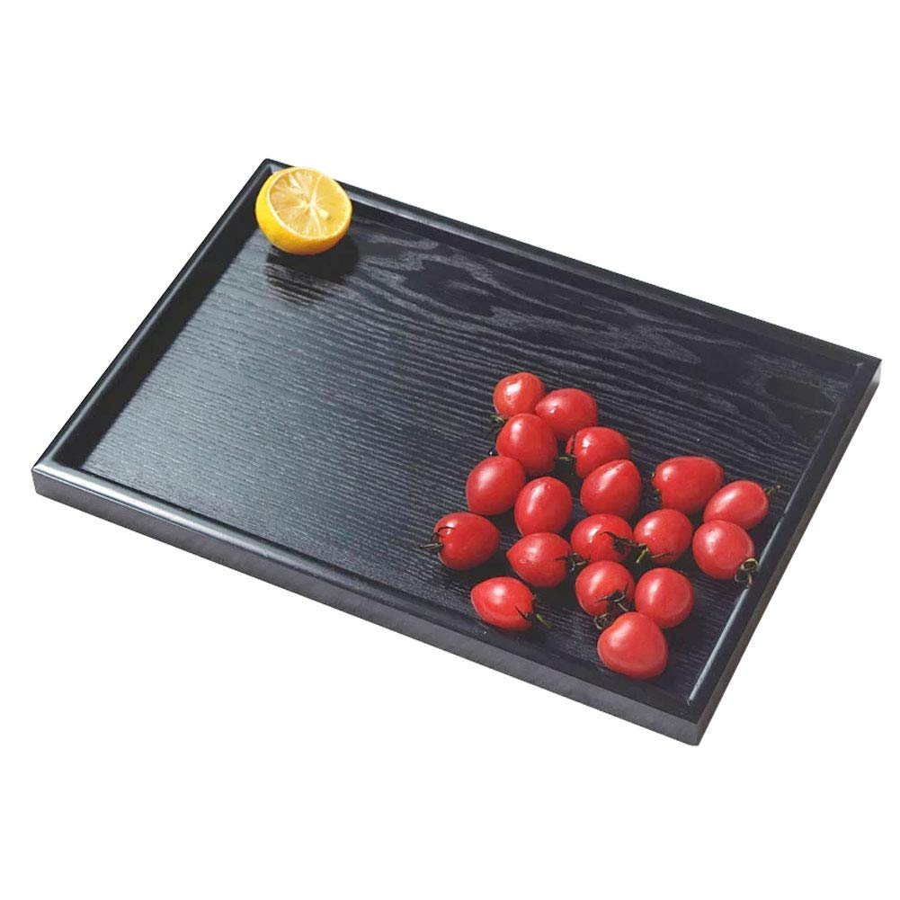 Wooden Serving Tray Rectangle Fruit Tea Breakfast Platter for Home Hotel Cafe Coffee Shop Canteens Black Lacquer (25182cm) Fdit