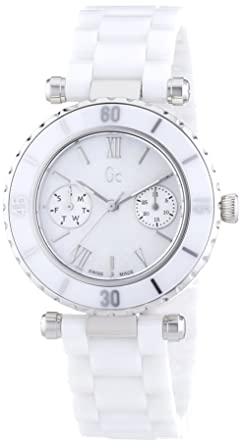 9e550bc0c Amazon.com: Guess Collection Women Analog Swiss Quartz Watch with White  Ceramic Bracelet and Mother of Pearl Dial I35003L1S Gc Diver Chic Sport Chic  ...