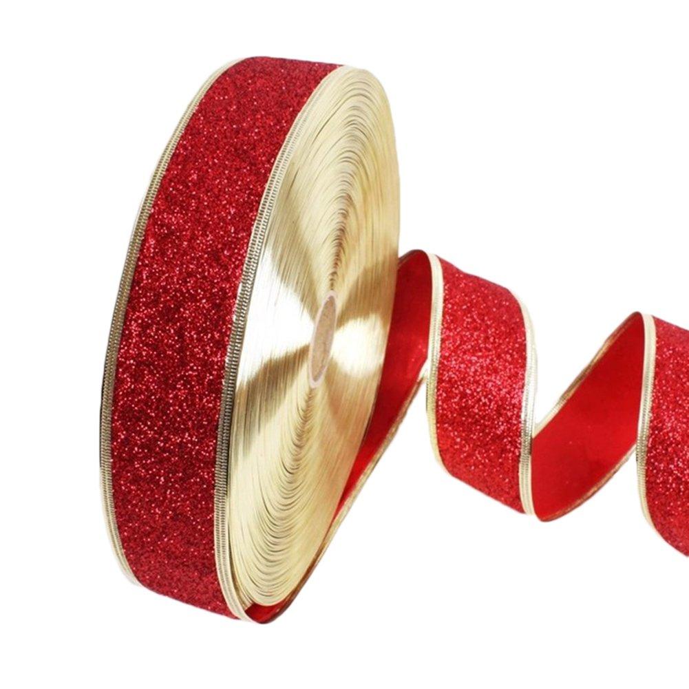 Toruiwa nastro organza nastro decorativo nastro glitter per albero di Natale matrimonio festa di Natale confezioni regalo e biglietti 1rotolo Red