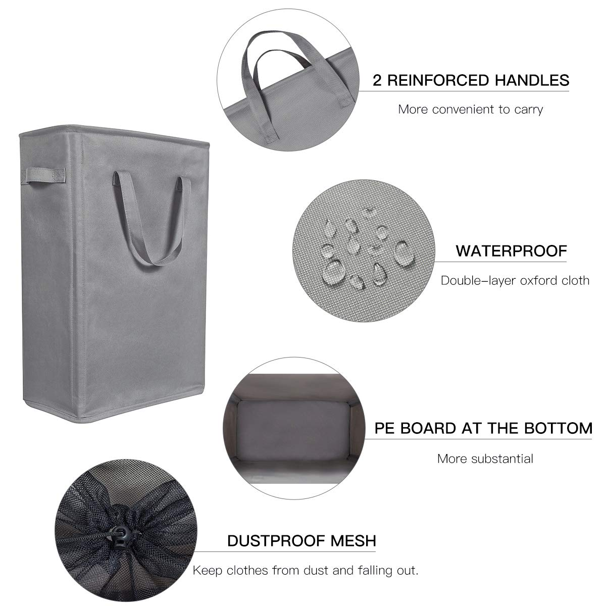WOWLIVE Slim Laundry Hamper Thin Laundry Basket Foldable Nursery Hampers for Laundry Durable Dirty Clothes Hamper with Handles for Home Dorm (Gray)
