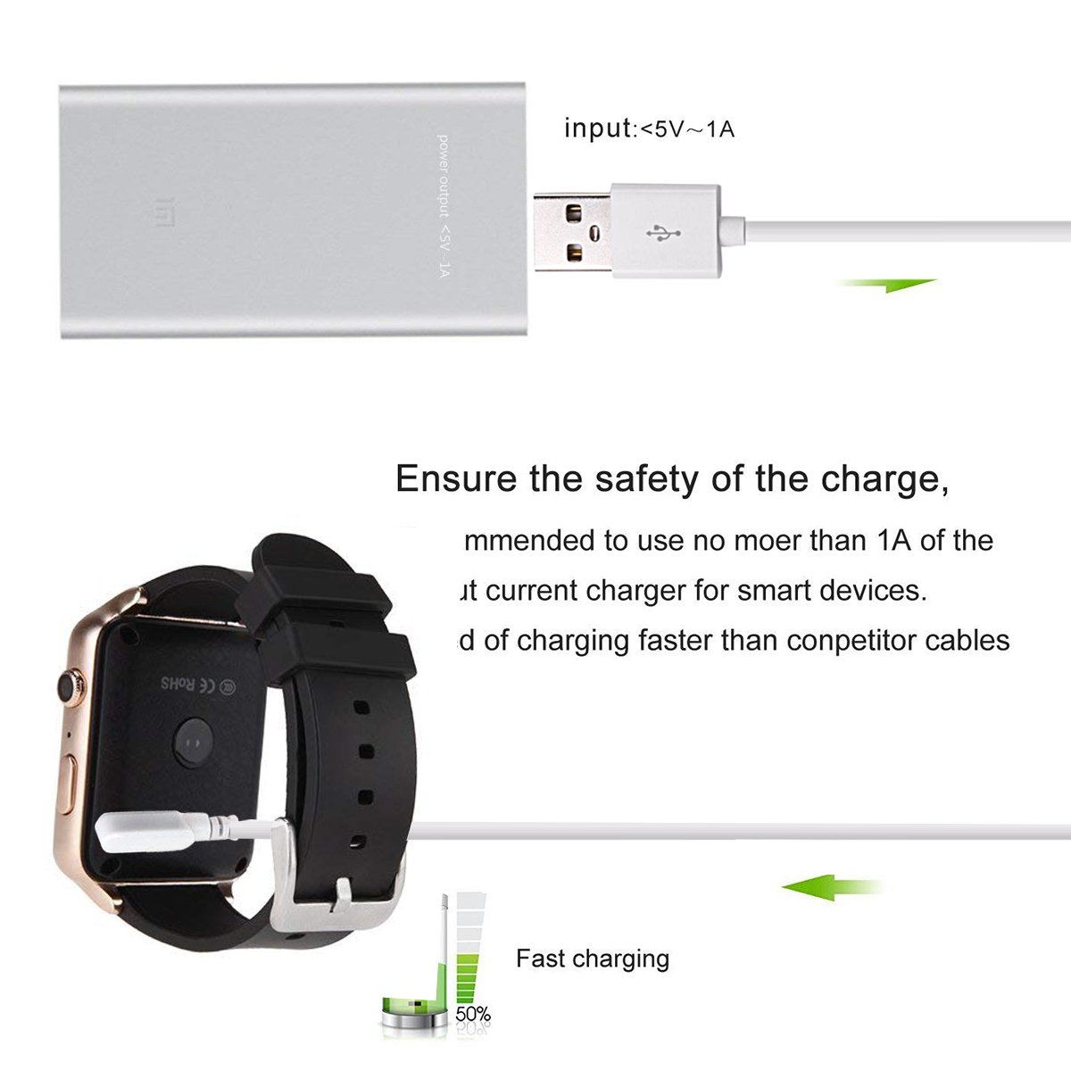Charging Cable for Smart Watch,DOCA 4 Pins Magnetic Adsorption USB Charger Cable for Bluetooth Smart Watches: GT88, GT68, KW08, KW18, KW88, KW98, ...