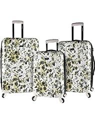 kensie White Flowers 3 Piece Hardside Designed Luggage Set