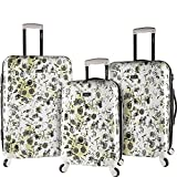 kensie White Flowers 3 Piece Hardside Designed Luggage Set