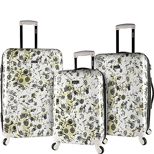 kensie White Flowers 3 Piece Hardside Designed Luggage Set by kensie