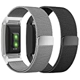 Fitbit Charge 2 Bands, Fitbit Bands Milanese Loop Metal Stainless Steel Replacement Accessories with Magnet Lock for Fitbit Charge 2 HR Men/Women Small Large Black Silver Gold