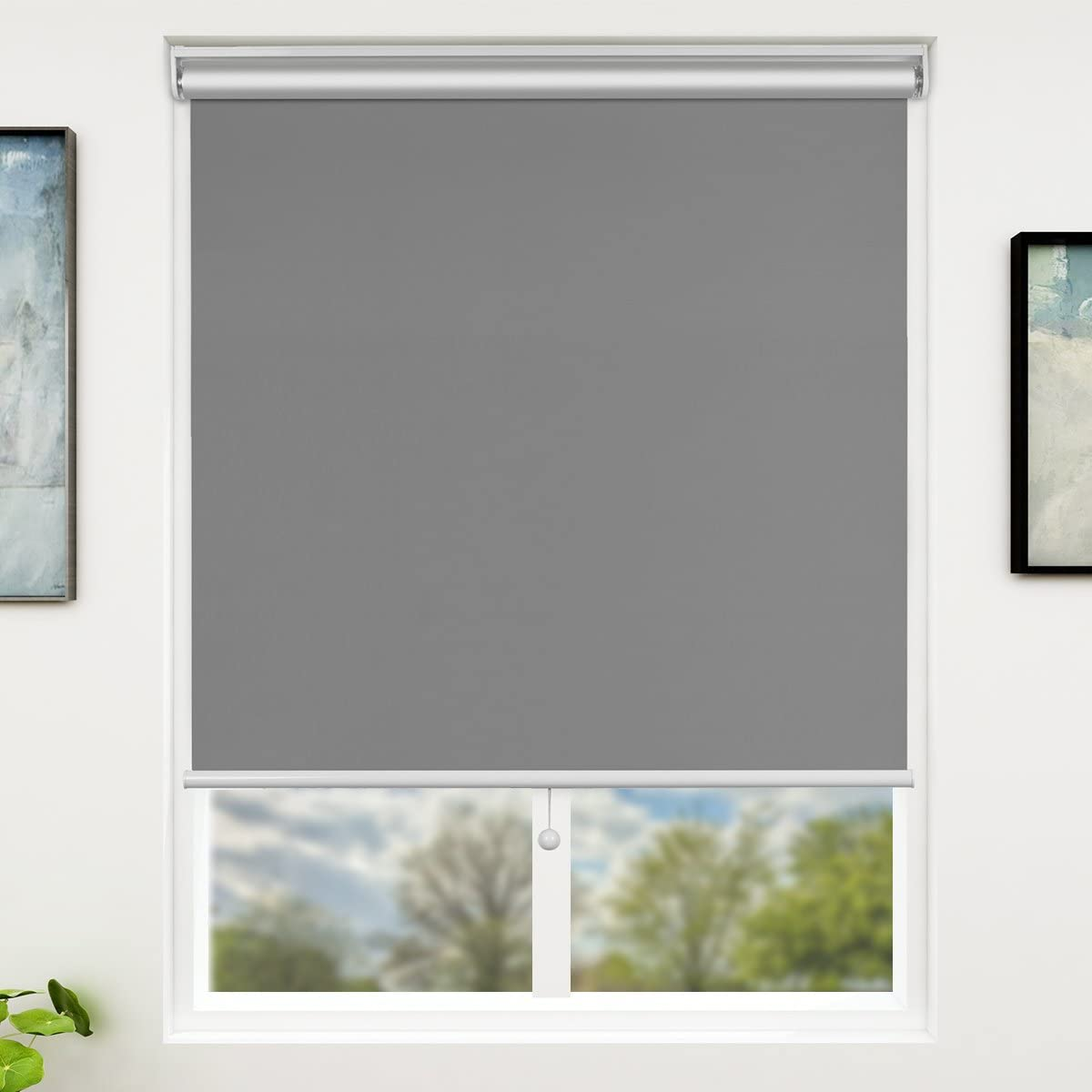 SUNFREE 28 x 72 Inch Blackout Window Shades Cordless Window Blinds with Spring Lifting System for Home & Office, Grey