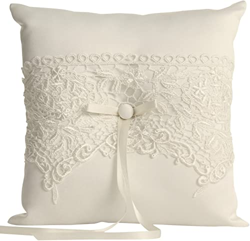 Ivy Lane Design Wedding Accessories Vintage Lace Ring Pillow, Ivory