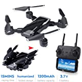 Drone LF609 2.4Ghz 4CH Fold Drone RC Drone Altitude Hold Headless Mode One Key Return RC Quadcopter RTF (Black Without…