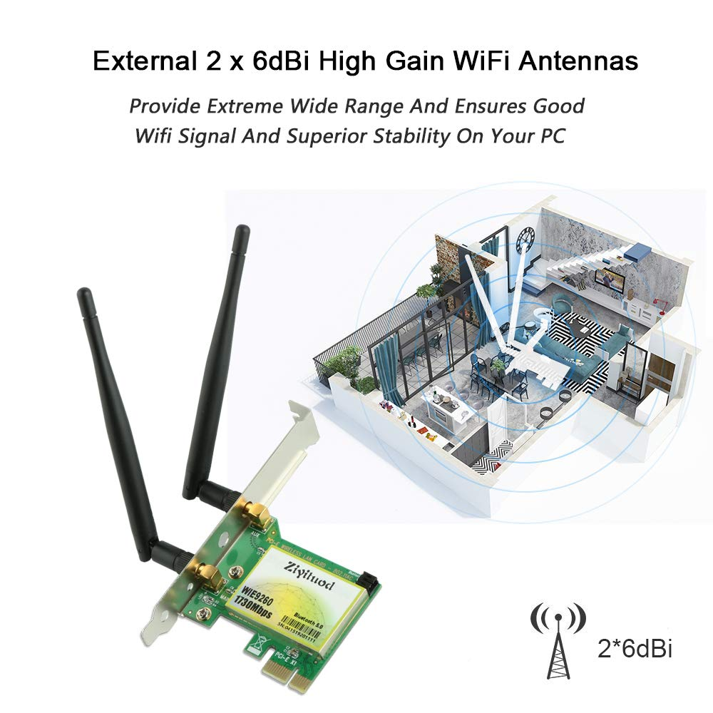 WiFi Network Card for Servers//Gaming Ziyituod Desktop PC PCI-E Wireless WiFi Adapter Card Dual Band Wireless 450Mbps PCI Express PCIe
