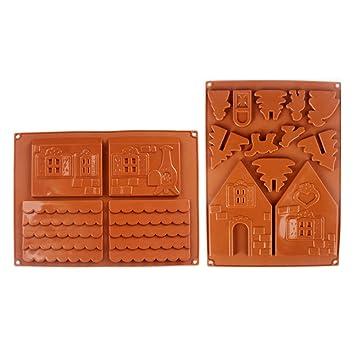 Ferrell 2 Unids/Set 3D Casa de Pan de Jengibre de Navidad Molde de Pastel de Chocolate de Silicona DIY Galletas Herramientas de La Hornada: Amazon.es: Hogar