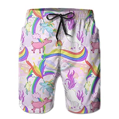 59786bf7fe RYUO Unicorn Repeating Pattern Beach Board Shorts Home Cute Classical  Hunting