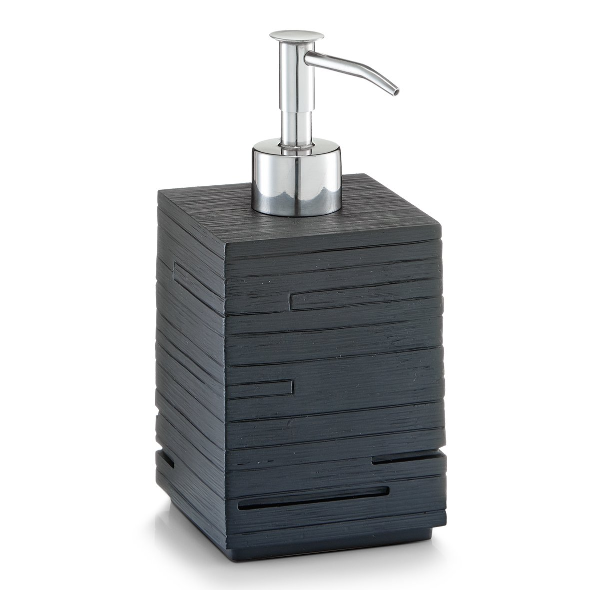 Zeller - 18316, Dispenser per sapone liquido Schiefer, in poliresina, 8 x 8 x 16 cm, Nero (schwarz)