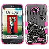 Wydan (TM) TUFF Impact Hybrid Hard Gel Shockproof Case Cover For LG Optimus L70 Optimus Exceed 2 LS620 Realm - Silver Black Flower - Pink w/ Wydan Stylus Pen