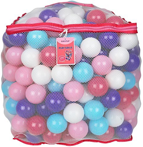Click N' Play Value Pack of 200 Crush Proof Plastic Play Balls, Phthalate Free BPA Free, 5 Pretty Feminine Colors in Reusable Mesh Storage Bag with Zipper-Little Princess Edition