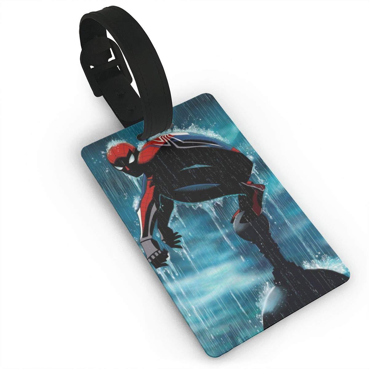 SWDFFG 荷物IDタグ - スタイリッシュな雨の中のスパイダーマン プリント PVC スーツケース バッグ ラベル トラベルアクセサリー B07MJ5D396