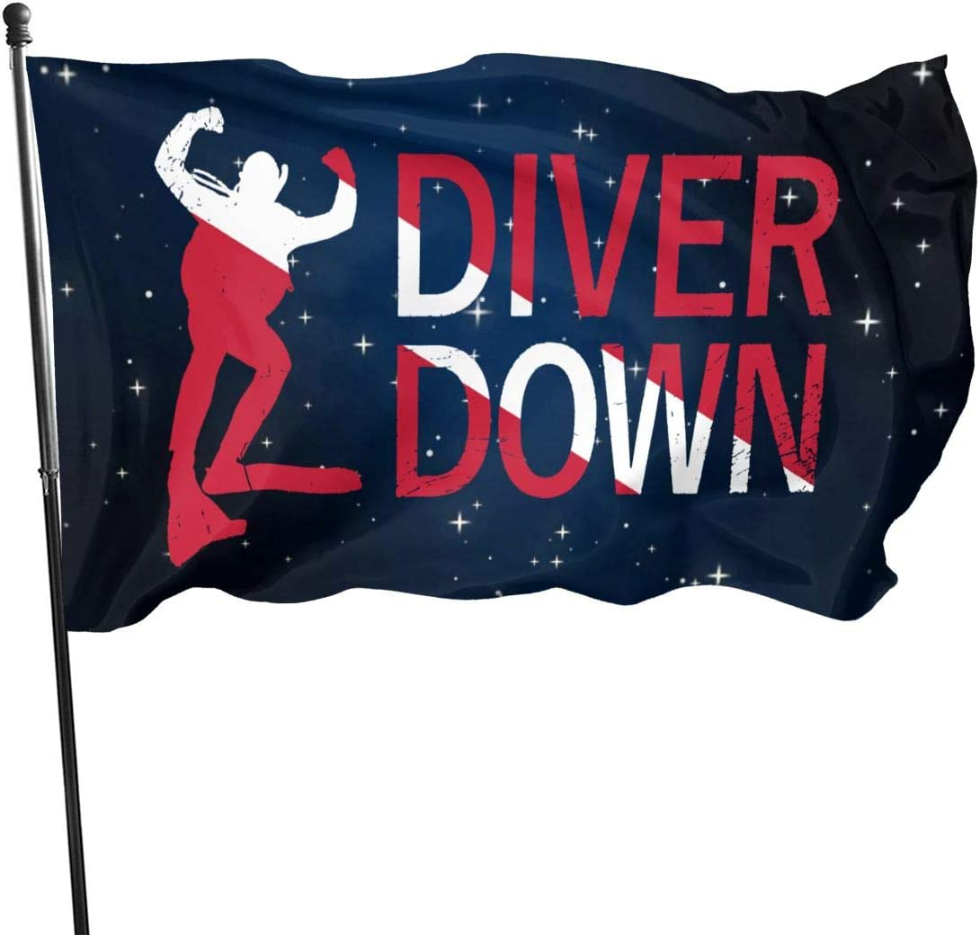 GAJAJAYZXN Diver Down Garden Flag Patry Flag Outdoor Flag Garden Flag Outdoor Yard Flag Wall Lawn Banner Home Flag Decoration 3' X 5'