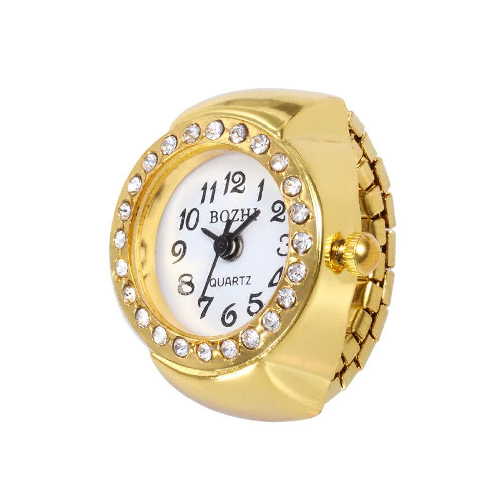 Dial Quartz Analog Watch Creative Steel Cool Elastic Quartz Analog Finger Ring Watch for Women, Rose Gold/Gold, TLT Retail (A, Gold)