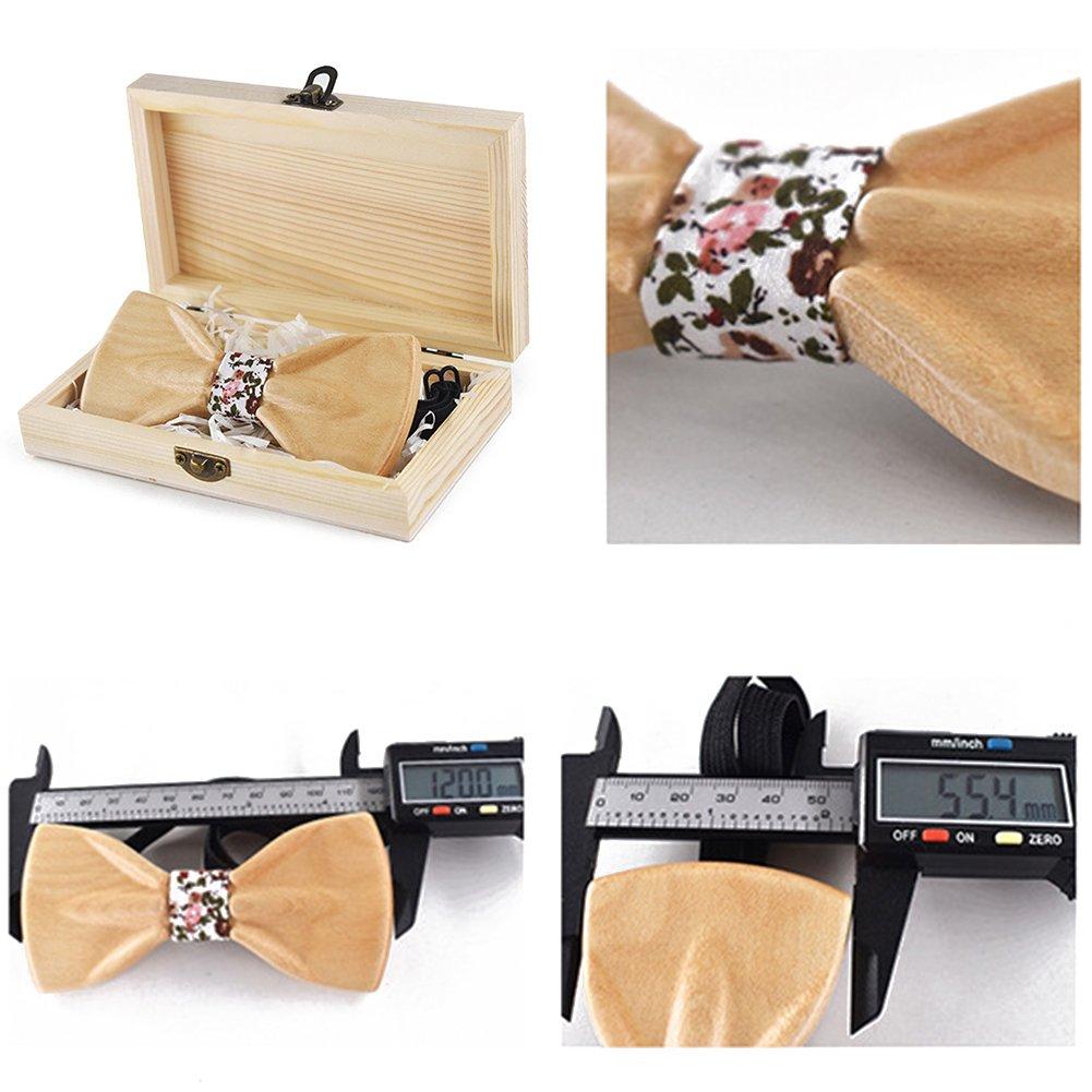 Wooden Bow Ties for Men Flower Lapel Pins Polyester Handkerchiefs Cufflinks Set Mantieqingway