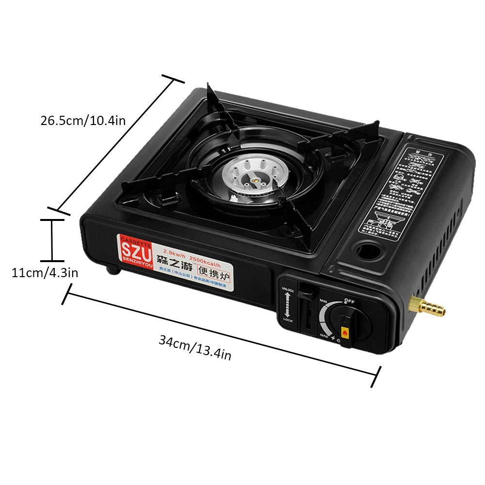 FancyU Estufa portátil de la Cocina de Gas, Estufa portátil a Prueba de Viento a Prueba de Viento de la Estufa de Cassette de Doble Uso para Acampar yendo ...
