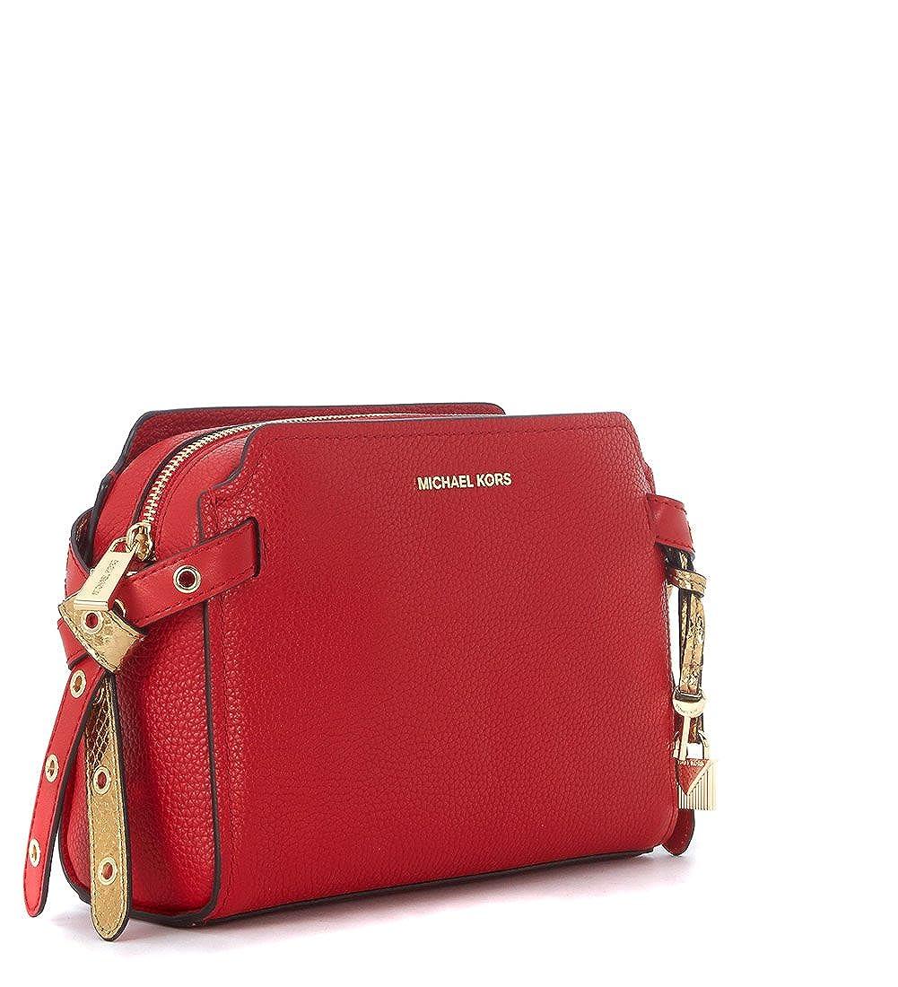 Amazon.com  MICHAEL Michael Kors Womens Bristol Leather Messenger Handbag  Red Medium  Clothing 5c8a271e662d6