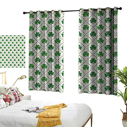 Warm Family Living Room Curtains Irish,Four Leaf Shamrock Clover Flowers with Dotted Dashed Lines National Culture Symbol,Green White 84