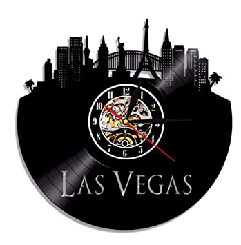 Gwgdjk Reloj de Pared con Disco de Vinilo de Las Vegas City Vintage Desert Casino EE. UU. Skyline City Art Wall Clock United States Traveler Gift: ...