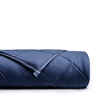 YnM Weighted Blanket (15 lbs, 48''x72'', Twin Size) for People Weigh Around 140lbs | 2.0 Cozy Heavy Blanket | 100% Oeko-Tex Certified Cotton Material with Premium Glass Beads, Navy