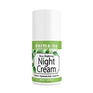 Anti-Aging Night Cream for Face - Natural Skin & Neck Firming Anti Wrinkle Moisturizer - Age Defying Hydrating Care with Retinol, Hyaluronic Acid and Green Tea for Sensitive, Dry or Oily skin
