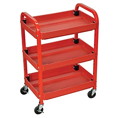 Offex OF-ATC332 Heavy Duty Rolling 3 Shelves Adjustable Storage Utility Cart - Red