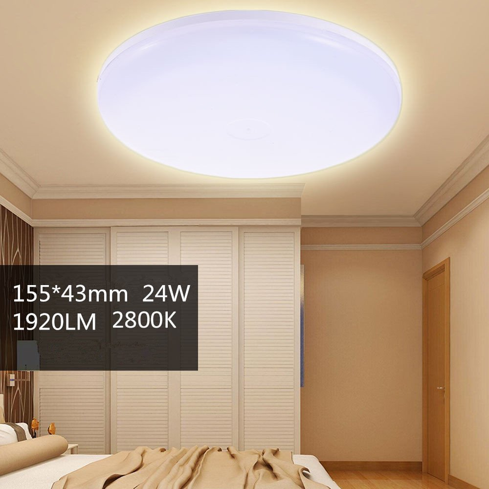 24W Round LED Ceiling Down Light 1920LM Warm White Fixture Ceiling Light Wall Lamp Lamp Ceiling Lamp Wall Light for Home Office Hotel Panel Bathroom Kitchen Light