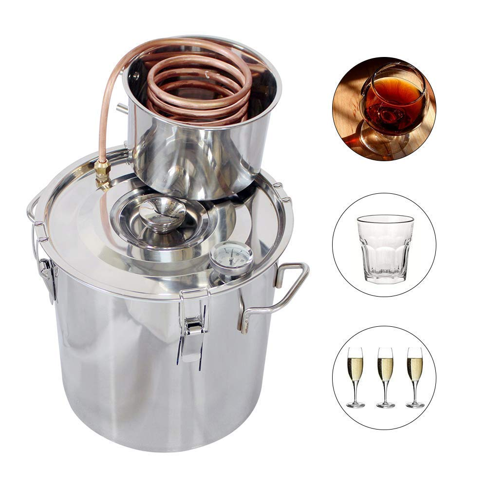 ECO-WORTHY 5 Gallon 18L 2 Pots Wine Making Kit Stainless Steel Alcohol Distiller Moonshine Wine Making Boiler with Thermometer (18L Distiller)