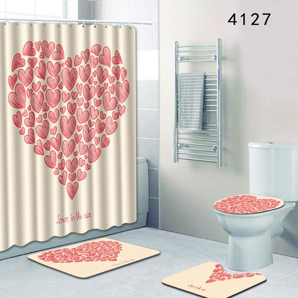 Leoie Liebevolles Herz Muster Duschvorhang Badematte WC-Decke f/ür Badezimmer Vierteiliges Set 4126