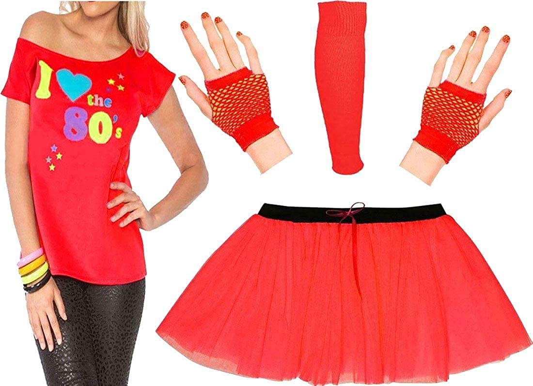 Women I Love The 80s Print T Shirt TutuSkirt Gloves Legwarmer Fancy Costume Set RIDDLED WITH STYLE