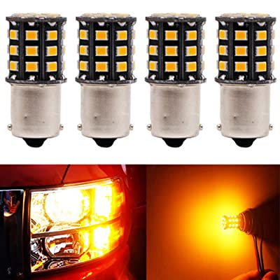 BlyilyB 4-Pack 9-30V 1156 BA15S 2835 33SMD LED Light bulbs 1141 1259 For Amber Backup Parking Tail Light: Automotive