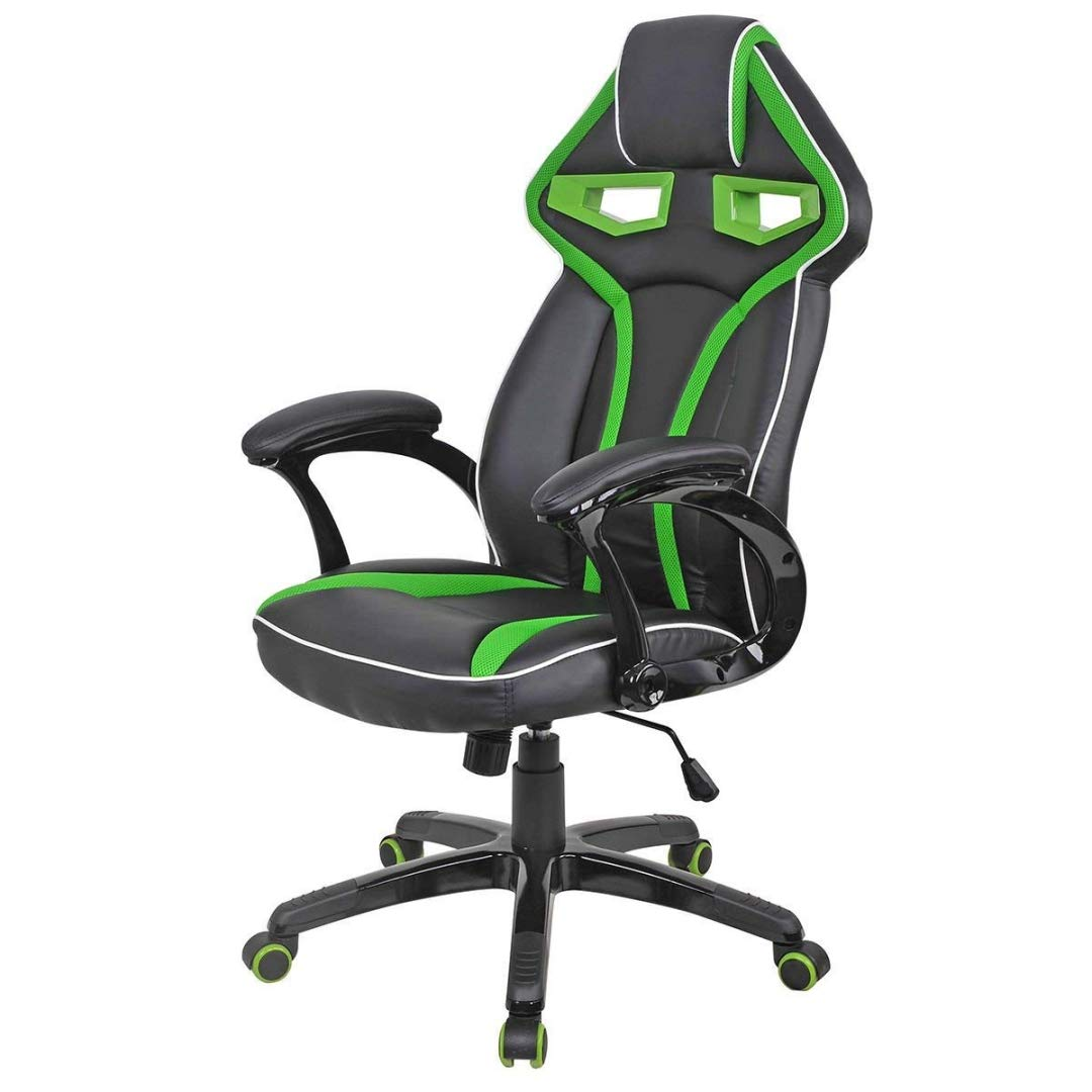 Modern Racing Car Style High Back Gaming Chair Comfortable Bucket Seat Adjustable Armrest Desk Task Thick Padded PU Leather Upholstery Posture Support Home Office Furniture - (1) Green #2122 by KLS14