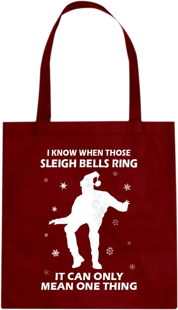 Tote When Those Sleigh Bells Ring Large Red Canvas Bag Amazon Ca Luggage Bags