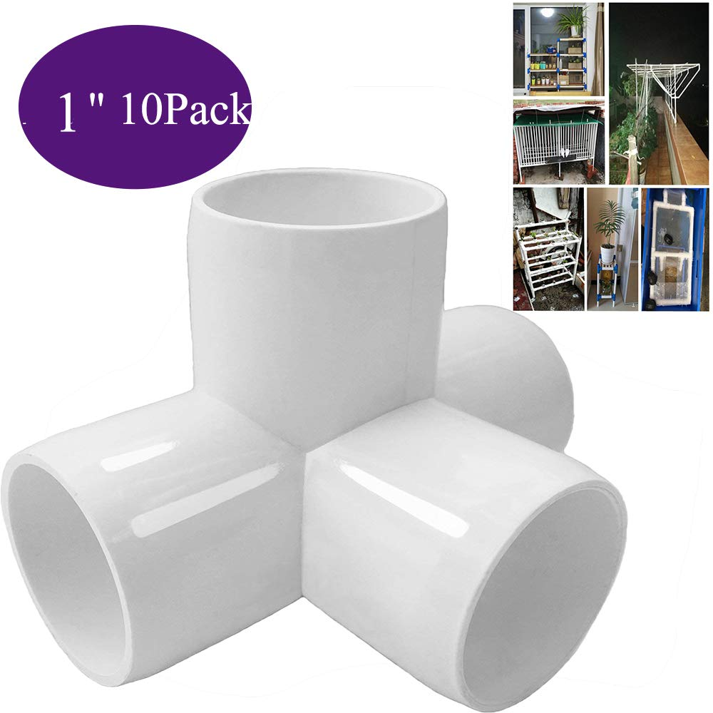 Build Heavy Duty PVC Furniture 4Way 1//2 3//4 1inch Tee PVC Fitting Elbow 1in 10pack PVC Elbow Fittings 4 Way PVC 1//2