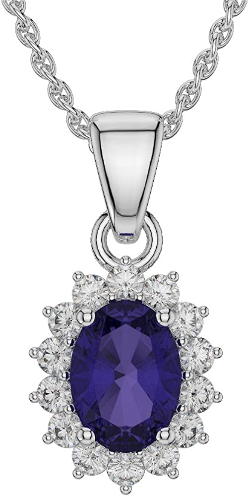 1.25Ctw Oval Cut Tanzanite Sim Dia Floral Halo Women Pendant Necklace14K White Gold Finish