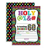 HOLY @% 60th Birthday Party Invitations, Ten Funny 5''x7'' Fill In Cards with 10 White Envelopes for Milestone Birthdays by AmandaCreation