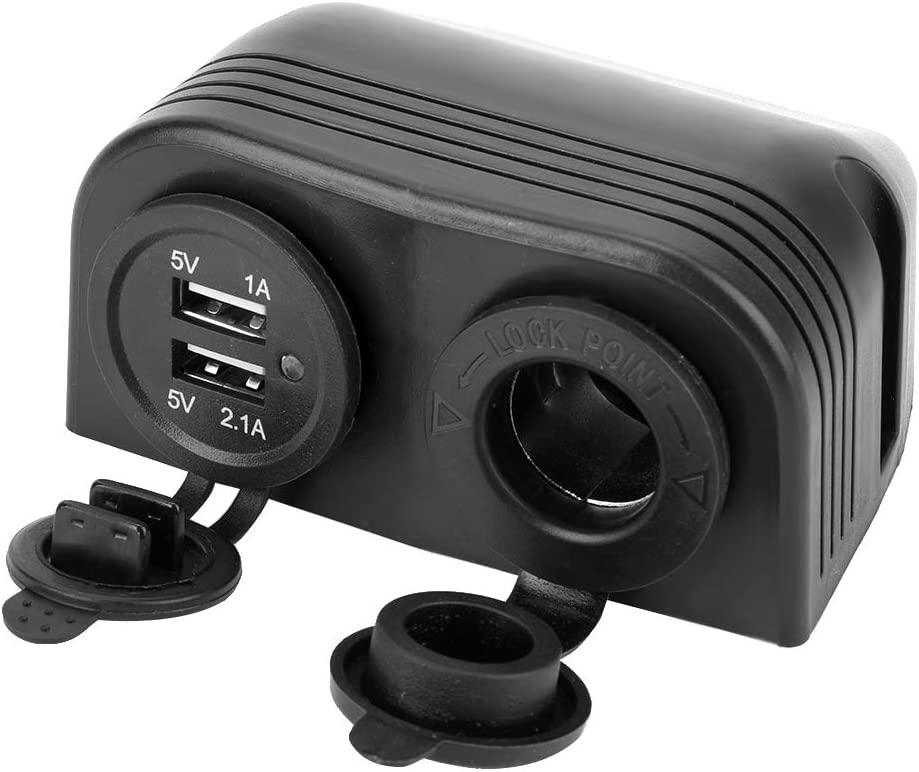Cargador de Enchufe de Encendedor de Cigarros USB Dual a Prueba de Agua para Motocicleta de 12-24 V Cargador de Encendedor de Cigarrillos