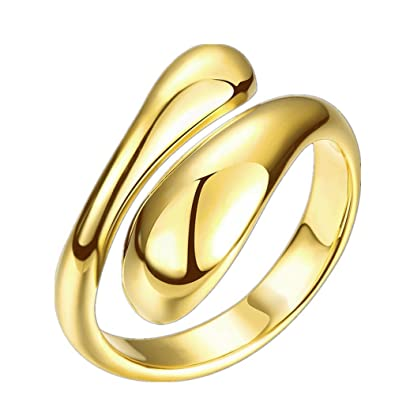FJYOURIA Women's Open Double Line Ring 18ct Gold/Silver Plated Ring Thumb Rind Midi Knuckle Ring (18ct Yellow Gold) gLUwKLHJYv
