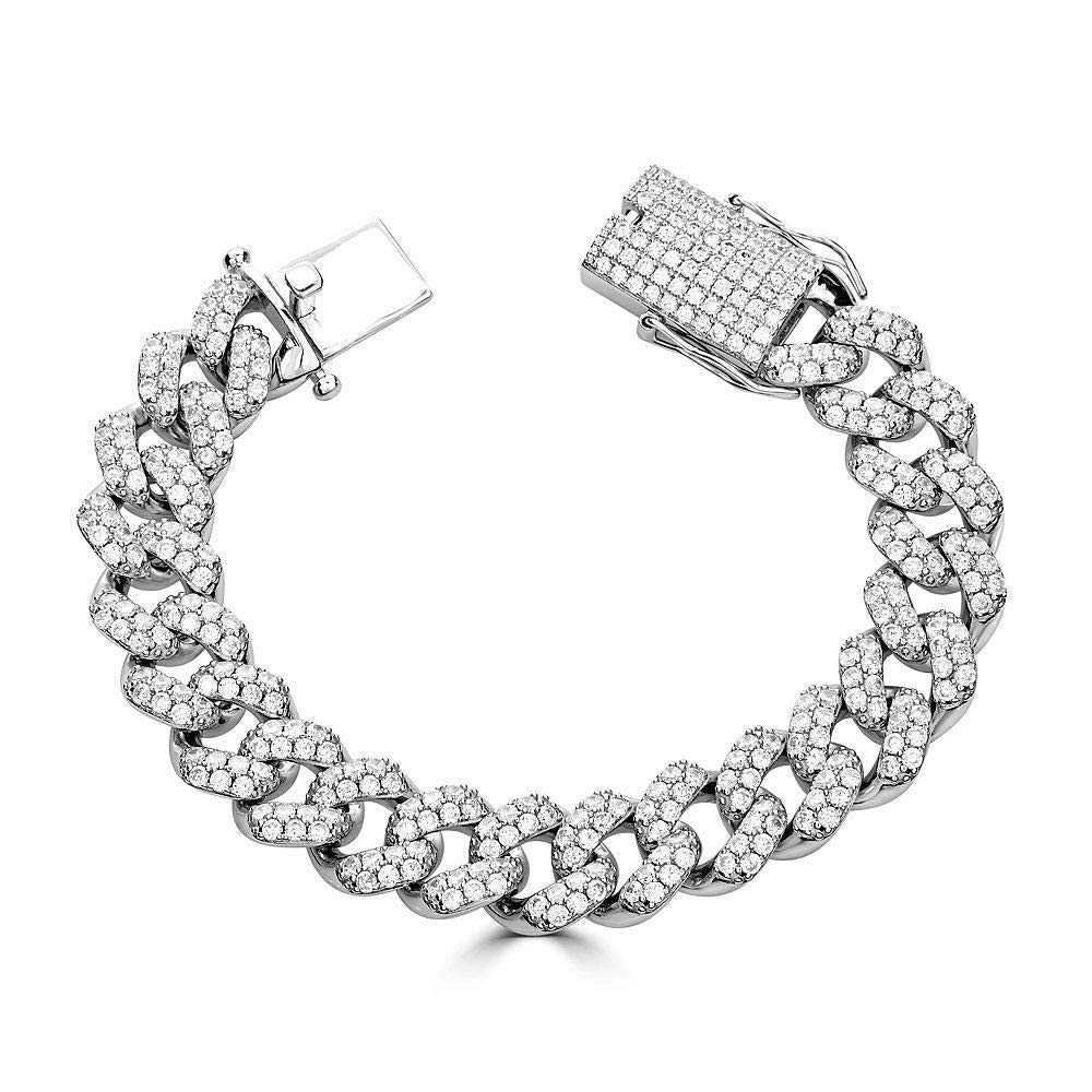 Harlembling Solid 925 Sterling Silver Men's Iced Out Miami Cuban Bracelet - Heavy 15mm Cuban Link - ICY (10)