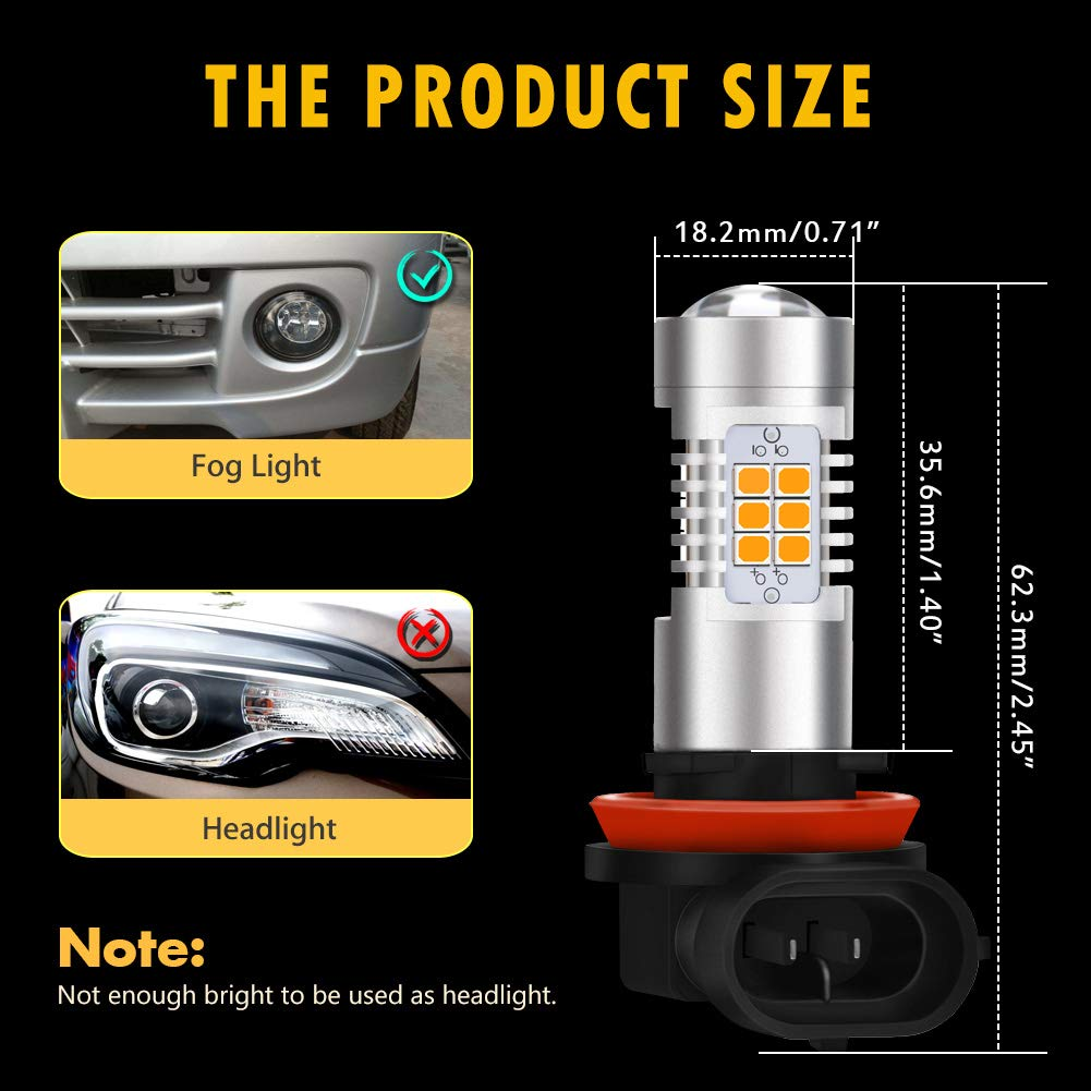 KaTur PSX24W LED Fog Light Bulbs Max 80W High Power Super Bright 2000 Lumens 6500K Xenon White with Projector for Driving Daytime Running Lights DRL or Fog Lights,12V 24V Pack of 2