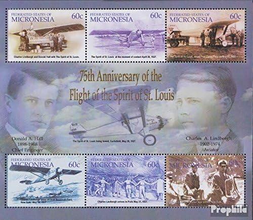 compl/ète.Edition. 2003 Charles Lindebergh Aviation Timbres pour Les collectionneurs Mikronesien mer.-no.: 1400-1405 Feuille Miniature