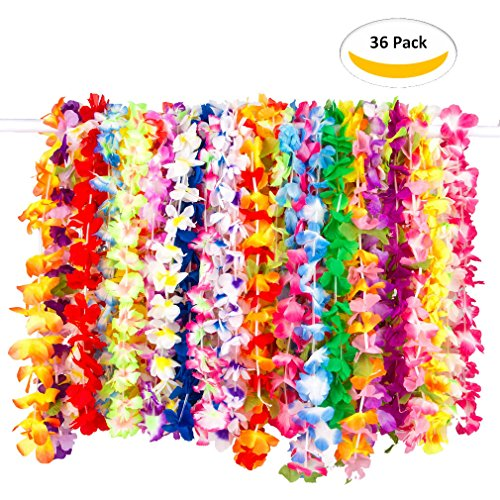 Ainic Tropical Hawaiian Luau Flower Lei Party Favors -Colorful Luau Flower Leis Garland for Party Event Pack of 36