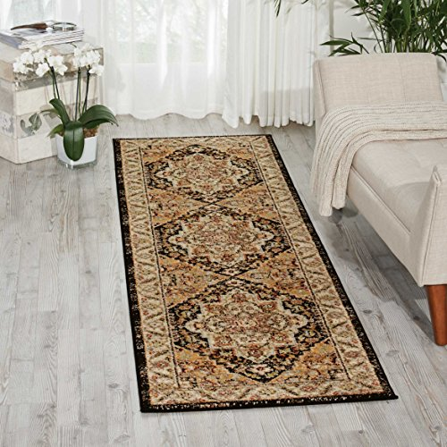 Nourison Delano DEL05 Traditional Oriental Persian Black Area Rug Runner,  2'2