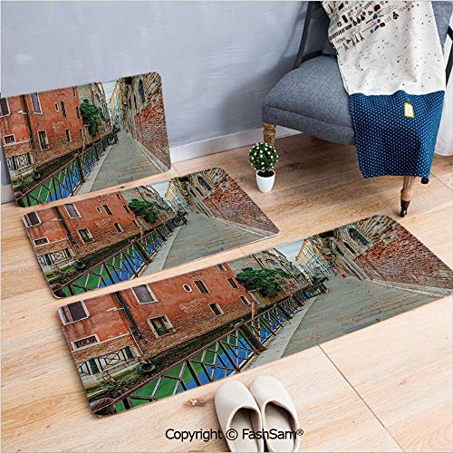 - FashSam 3 Piece Flannel Doormat Empty Idyllic Streets of Venezia Travel Destination Romantic Vacation Old Buildings for Kitchen Rugs Carpet(W15.7xL23.6 by W19.6xL31.5 by W35.4xL62.9)