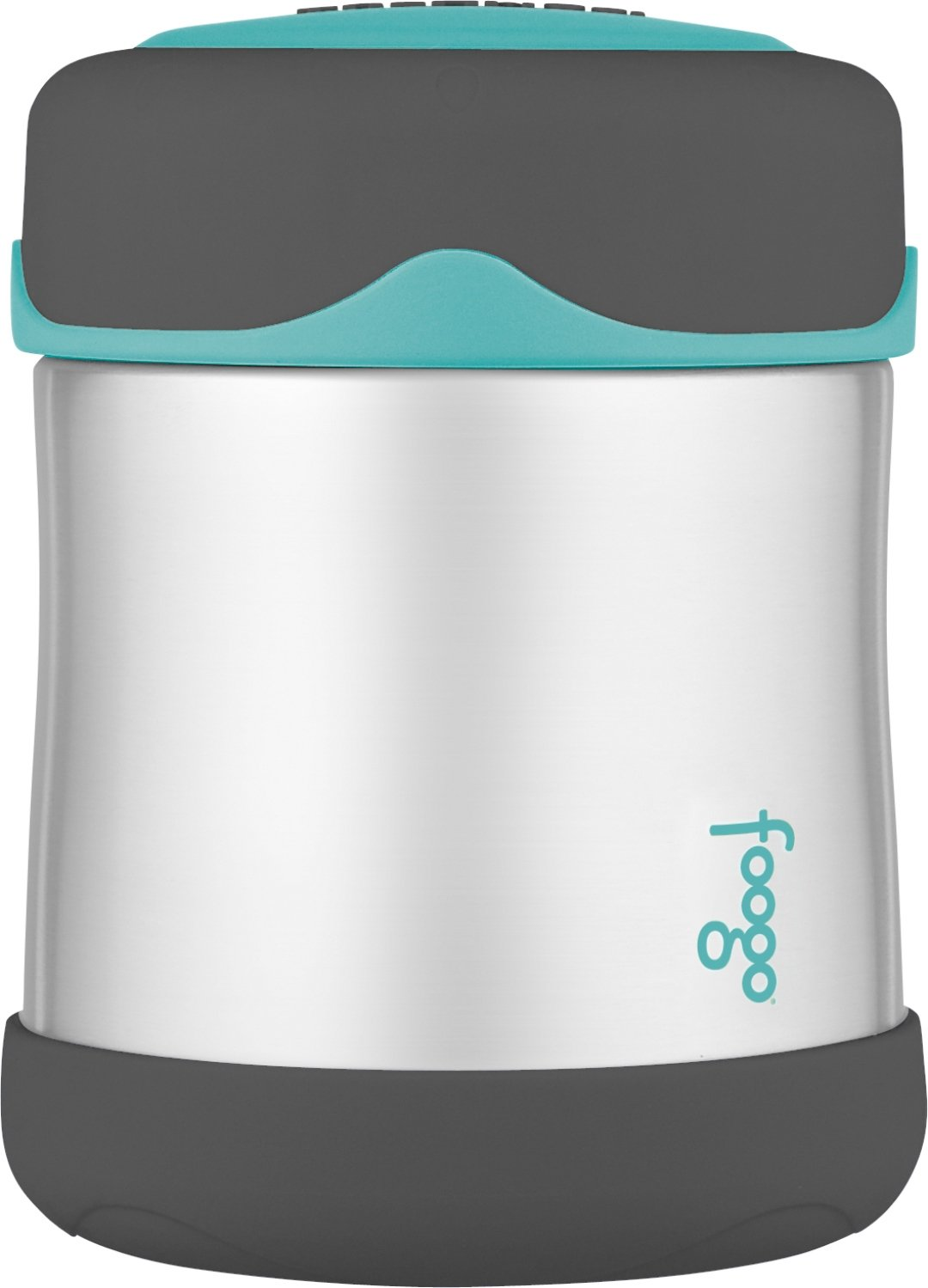 THERMOS FOOGO Vacuum Insulated Stainless Steel 10-Ounce Food Jar Charcoal//Teal
