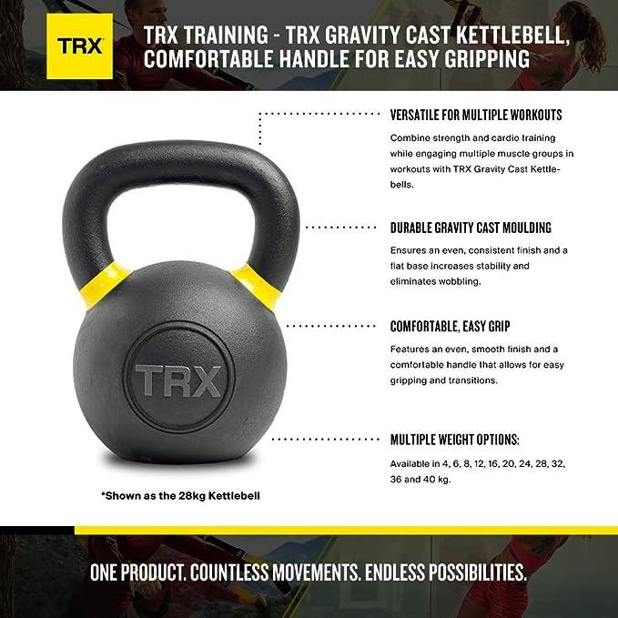 TRX Entrenamiento Pesa Rusa Gravity Cast Kettlebell asa Confortable para un fácil Agarre: Amazon.es: Deportes y aire libre